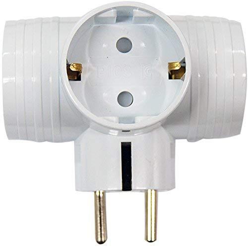 3-Wege-T-Bone-Stecker-Konverter-Outlet-Adapter 220~250V Outlet Weiß Hergestellt in Korea