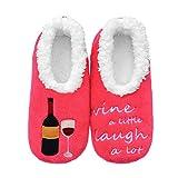 Chaussettes amusantes pour femmes avec dicton/chaussettes d'intérieur antidérapantes super douces-chaussettes de pieds flous pour femmes vin (Rose foncé, M, medium)