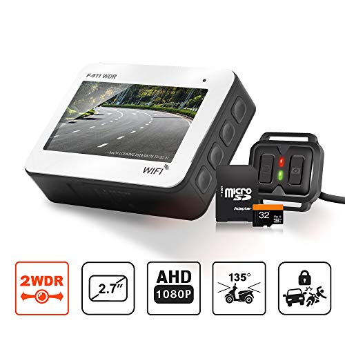 Front and Rear Motorcycle Dash Cam - Full HD 1080P WDR Sensor IP68 Waterproof DVR Dual Recording Capacitor WiFi Connectivity with Best Night Vision