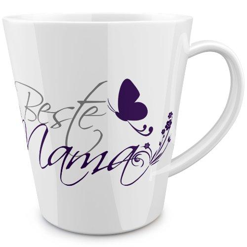 FunTasstic Beste Mama (geschwungen) konische Tasse 100% handmade in Deutschland - zum Tee, Kaffee, als Geschenkidee mit Spruch, witzig, Küche Deko