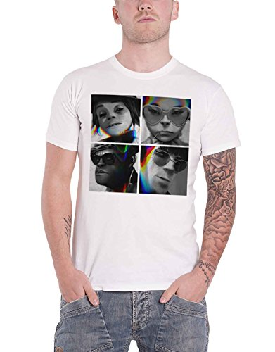 Gorillaz T Shirt Glitch Humanz Band Logo Official Mens White Size L