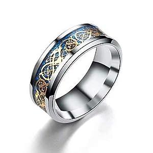 Herren Ring - Drachenschuppe Drachen Muster Kanten keltisch Ringe Schmuck Hochzeitsband fuer Maenner Golden 10