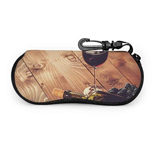 AEMAPE Botella de vidrio Vino tinto Uva Corcho Estuche para anteojos para hombre Estuche para gafas para niñas Estuche ligero portátil con cremallera Estuche blando Estuche para anteojos