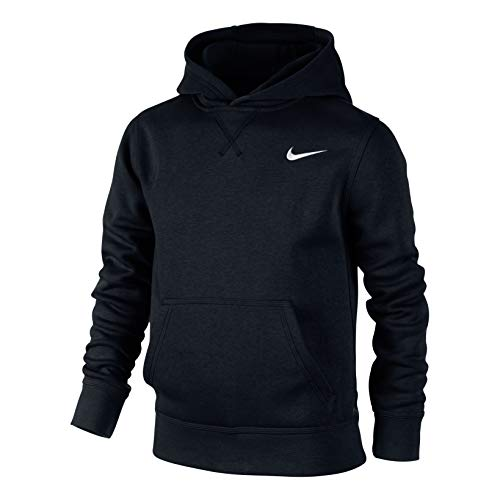 Nike Jungen Kapuzenpullover Brushed Fleece, black/white, S, 619080-010