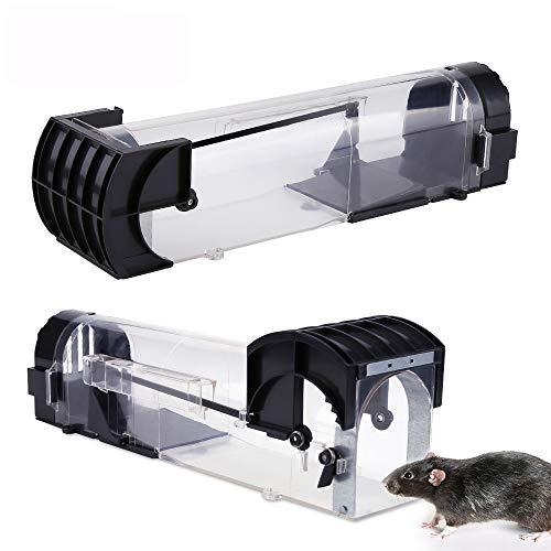 Koqit Mausefalle Lebend, 2 Stück Wiederverwendbar Mausefalle Eingang Tierfallen Professionell Kastenfalle für Küche, Garten/Die tierfreundliche Lebendfalle Rattenfalle - Mäuse einfach fangen