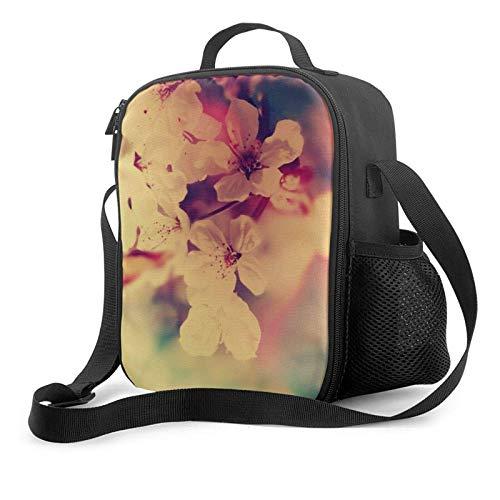 IUBBKII Bolsa de almuerzo con aislamiento Portable Lunch Bag, Large Capacity Storage Container, Women Men Kids Girls Insulated Tote Bag, Reusable School Outdoor Picnic Handbag With White Blossoms