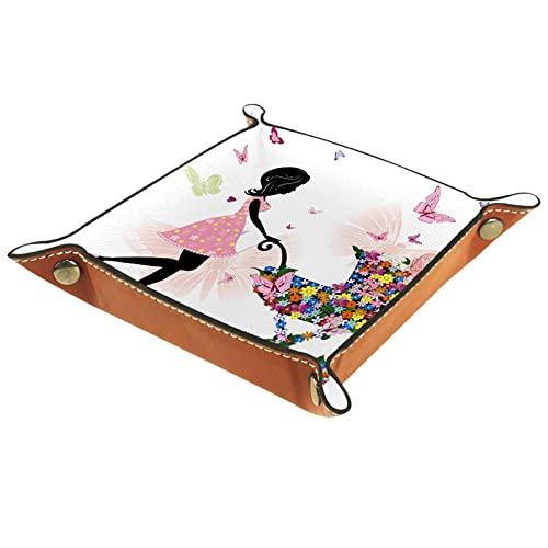 AITAI Valet Tray Vegan Leder Nachttisch Organizer Schreibtisch Storage Plate Catchall Girl Flowers Butterfly Kinderwagen