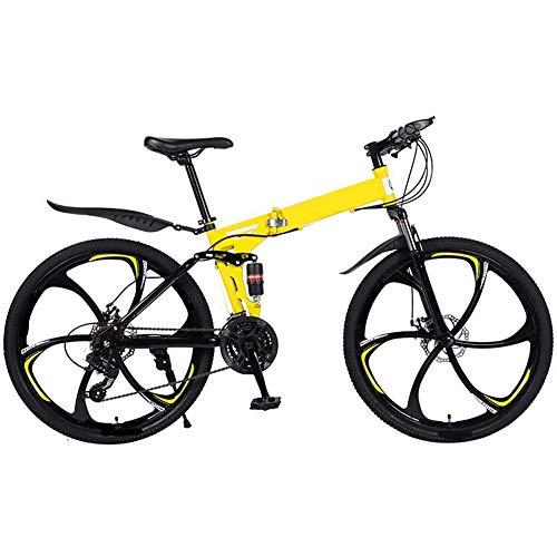 QAZWSX Mountain Bike Folding Bikes, 26 Inch-24/27-Speed Double Disc Brake Full Suspension Anti-Slip, Lightweight Aluminum Frame, Suspension Fork,Yellow,27 Speed
