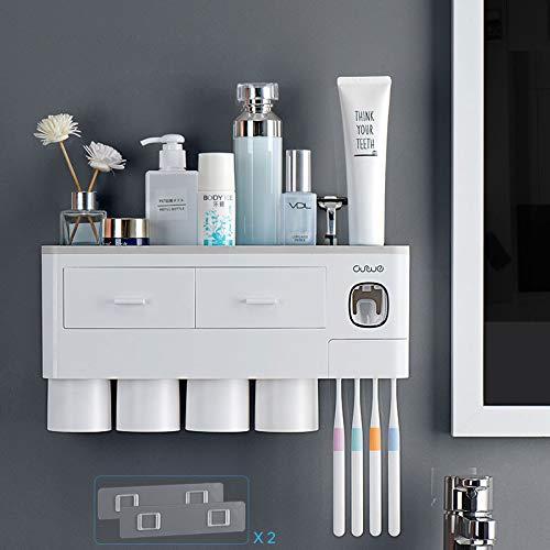 TuCao - Soporte para cepillo de dientes montado en la pared con dispensador automático de pasta de dientes, 7 ranuras para cepillos de dientes con cubierta a prueba de polvo (4 Tazas)