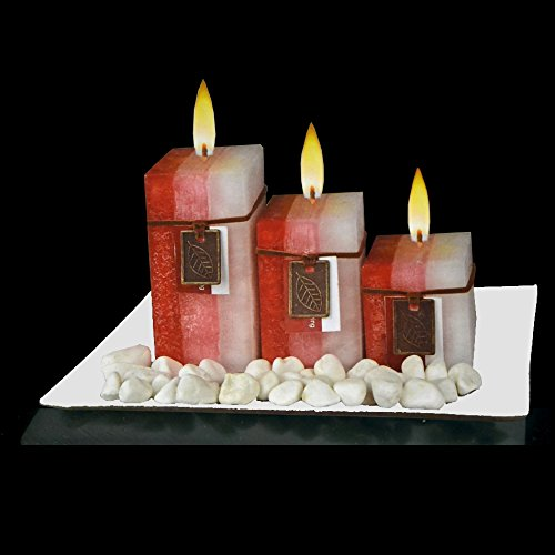 New Gift Set with 3 Scented Aromatic Mood Wax Candles Glass Plate Stones Candle (RED Cherry & Vanilla)