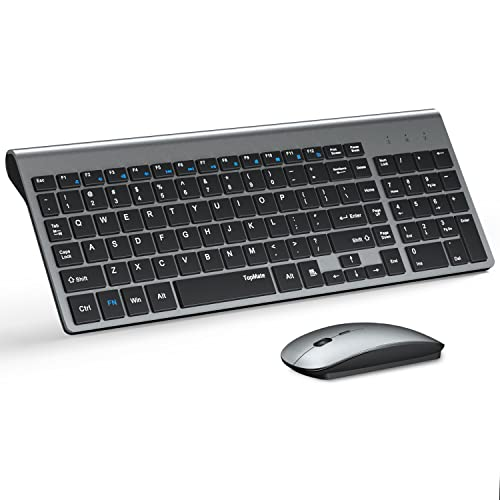 Wireless Keyboard and Mouse Ultra Slim Combo, TopMate 2.4G Silent Compact USB Mouse and Scissor Switch Keyboard Set with Cover, 2 AA and 2 AAA Batteries, for PC/Laptop/Windows/Mac - Gray Black