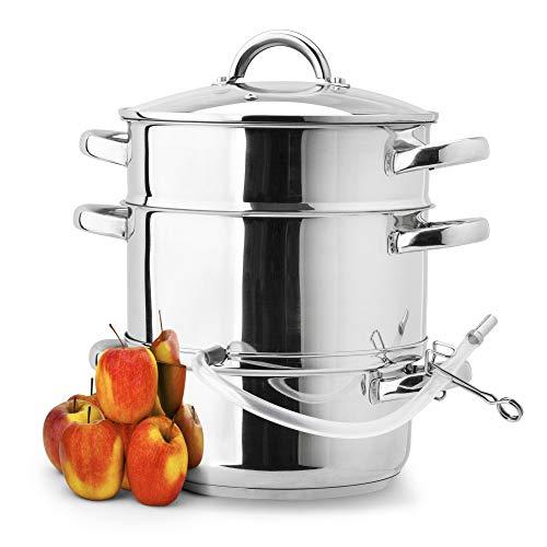 KÖNIGHOFFER Dampfentsafter Edelstahl Induktion ENTSAFTER Saftpresse Dampfgarer FRUCHTENTSAFTER Obst und Gemüse Küchengerät Multifunktion - 5 Liter | 8 Liter (5 Liter)