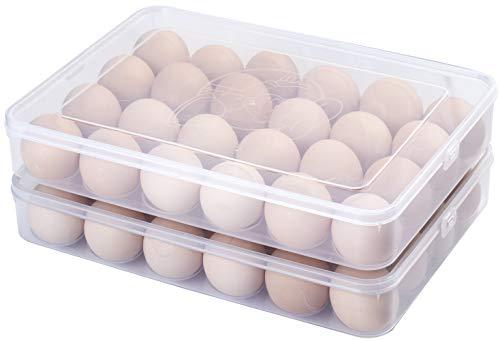 Sooyee 2 paquetes de hueveras cubiertas para refrigerador, transparente 2 x 24 bandeja para huevos caja de almacenamiento dispensador de huevos de plástico apilable contenedores de huevos (48 huevos)