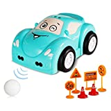 Toy Cars for Kids, Gesture Remote Control Car, Rechargeable Automatic Following Interactive Car for Boys Girls Gift, Evasive Maneuvers and Ball Chasing Mode, with Music and Colorful Lights (Blue)