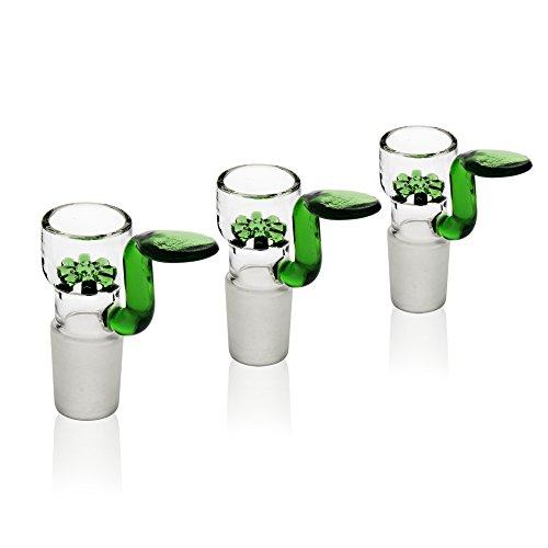 REANICE Bong Glaskopf Flutschkopf Für Glas Bongs Schliff 18.8mm Grün Bong Hut Nutzung ohne Einlegesiebchen 3-Pack