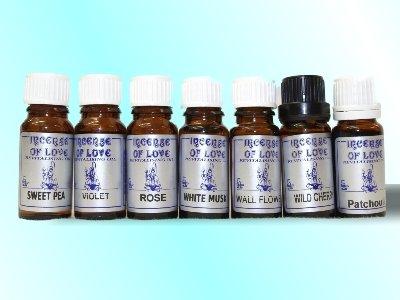 Incense of Love Quality, huiles parfumées, pois de senteur, Musc blanc, Patchouli, fleur de mur, cerise sauvage, violette, rose