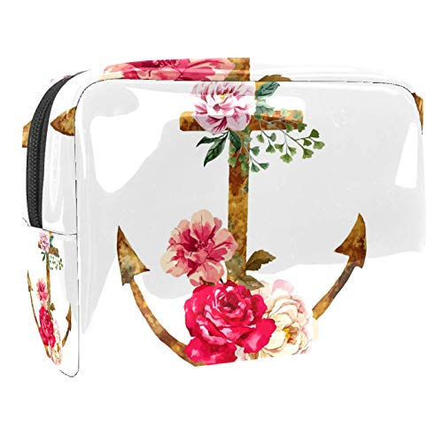 Portable Makeup Bag with Zipper Travel Toiletry Bag for Women Handy Storage Cosmetic Pouch Anchor Rusty Flowers