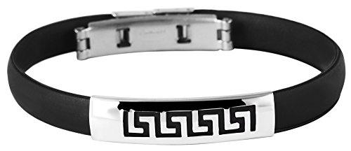 Akzent Kautschuk Armreif Reif Armband Schwarz mit Edelstahl Elementen Silberfarbig Matt und Glänzend 003049000001 sowie einer Faltschließe, Durchmesser 65mm, Breite 9mm