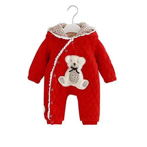 BEIAKE Mameluco con Capucha para Bebé Mono Cálido De Una Sola Pieza para Bebé Recién Nacido Mono Cálido De Manga Larga para Niños De 0 A 18 Meses,Rojo,92