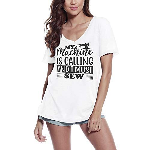 ULTRABASIC Kvinnors T-shirt Min maskin ringer och jag måste sy (L, Vit)