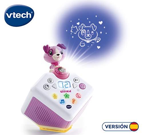 VTech - StoriKid, Cuentacuentos con proyector, escucha historias, poemas o canciones acompañadas de una proyección, graba tu propia historia, temporizador, luz de noche, color blanco/rosa (80-608067)