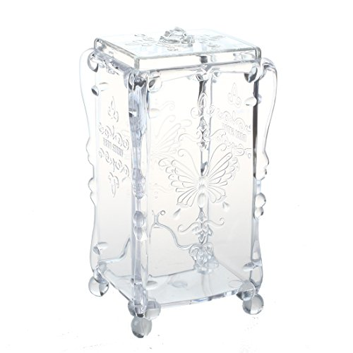 SODIAL(R) ecouvillons Organisateur boite de coton Boite de bijoux Acrylique Boite a cosmetique