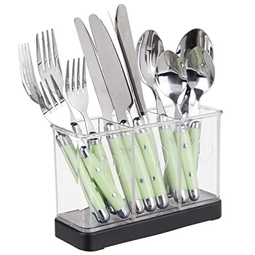 mDesign Utensil, Spatula, Cutlery Holder for Kitchen Countertop Storage - Matte Black/Clear