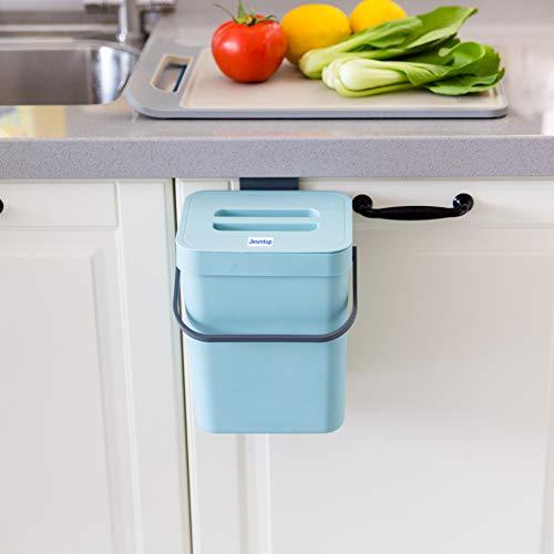 Kleiner Komposteimer mit Deckel, blauer Kunststoff-Abfallkorb, montierbarer Komposteimer zum Aufhängen für Büro, Hundekot-Mülleimer für Küche, Schlafzimmer, 3 l - 5 l 5L blau