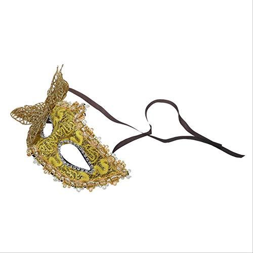 Máscara de fiesta PMWLKJ Máscaras de encaje sexy Mascarada veneciana Máscara de Halloween Carnaval Cosplay Como se muestra AMARILLO