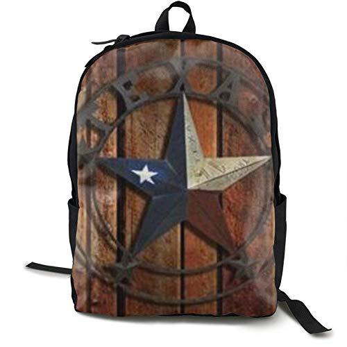 Texas Flag Star - Mochila con diseño de madera
