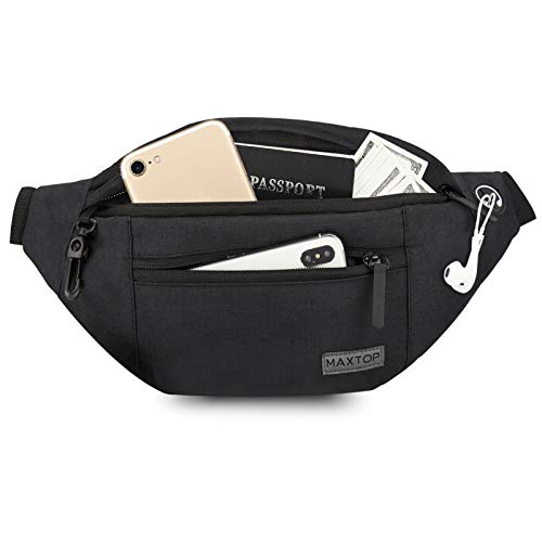 Large Fanny Pack for Women Men with 4-Zipper Pockets Gifts for Enjoy Festival Sports Workout Traveling Running Casual Hands-Free Water-Resistant Sling Waist Pack Bag Carrying All Size of Phones