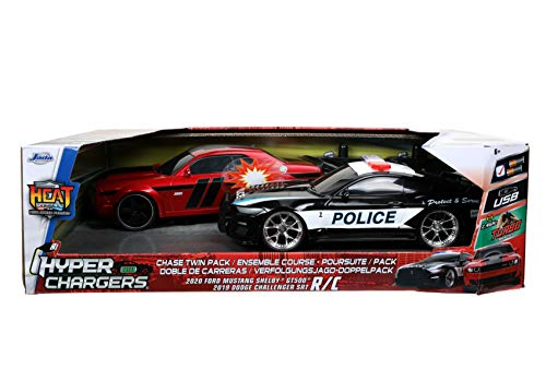 Jada Toys Hyperchargers 1:16 2020 Ford Mustang Shelby GT500 & 2019 Dodge Challenger SRT Remote Control Car, Toys for Kids and Adults