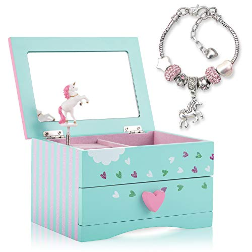 Amitié Lane Unicorn Jewelry Box for Girls - Unicorn Music Box with Pullout Drawer and Unicorn Charm Bracelet (Mint Green)