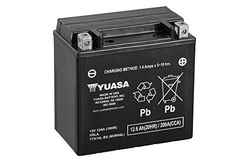 Batterie YUASA YTX14L-BS, 12V/12AH (Maße: 150x87x145) für Harley Davidson XL883 Sportster Baujahr 2008