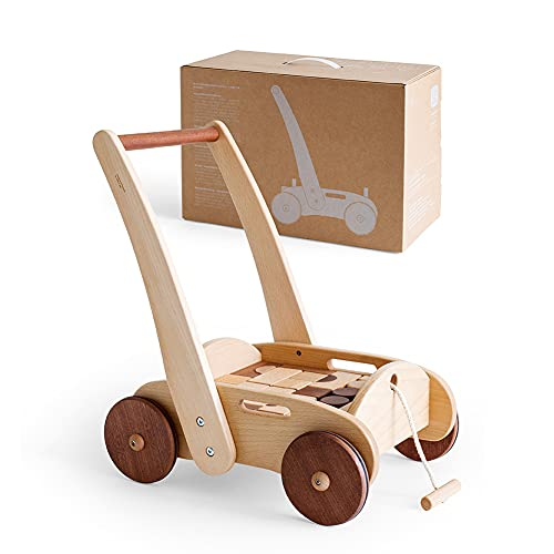 4-in-1 Wooden Baby Walker with Blocks, Push Along Baby Toy for Girl&boy 6 Months-3 Years, Toddler Activity Walker, Infant Push Pram, Kid First Step Walker