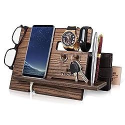 Halterung für Handys aus Holz mit Schlüsselhaken Geldbeutel für Herren Geschenk für Ehemann Jubiläum Vater Geburtstag Nachttisch Geldbörse
