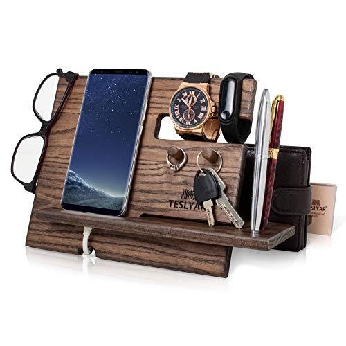 Halterung für Handys aus Holz Asche Baum mit Schlüsselhaken Geldbeutel für Herren Geschenk für Ehemann Jubiläum Vater Geburtstag Nachttisch Geldbörse Holz Telefon Dockingstation