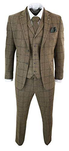 P&G Hombre Traje a Cuadros para Hombre Vestido de Esmoquin de Dos Botones de 3 Piezas Chaleco y pantalón para Fiesta de Boda de Negocios