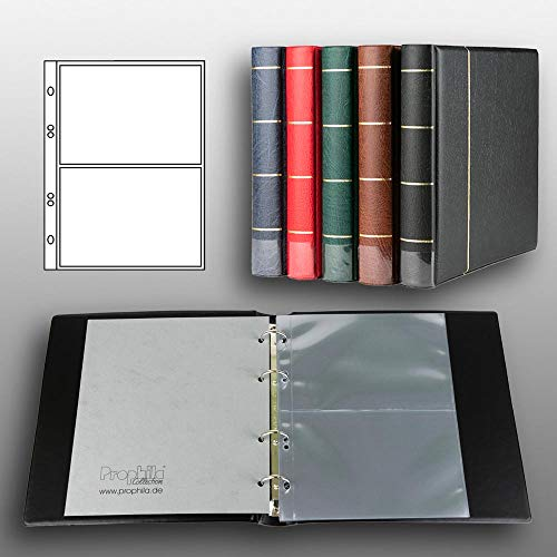 Prophila Kobra Reliure pour des Cartes Postales avec 20 Pochettes pour 40 Cartes Postales Noir