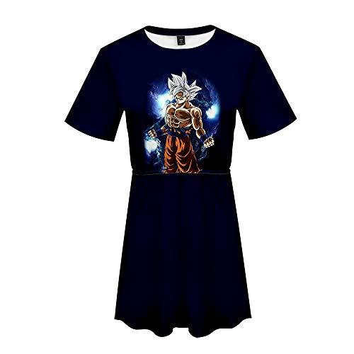 Dragon Ball Damen Sommer Kleider Kostüm Cocktailkleid Abendkleid Verein Partykleid Japanische Anime 3D Druck Retro Kurze Ärmel Schärpen Knielang Ballkleid Super Saiyan Son Goku Son Gohan