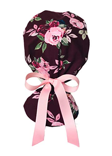 EYIP Ponytail Cap, Head Cover, Working Caps for Women with Long Hair, Pink Flowers on Burgundy with Pink Ribbon