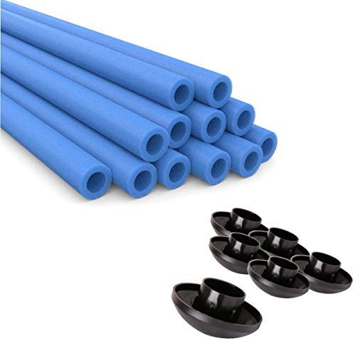 Ampel 24, 6 espumas de proteccíon de Barras + 6 Tapones para Barras de Cama Elastica | Azul