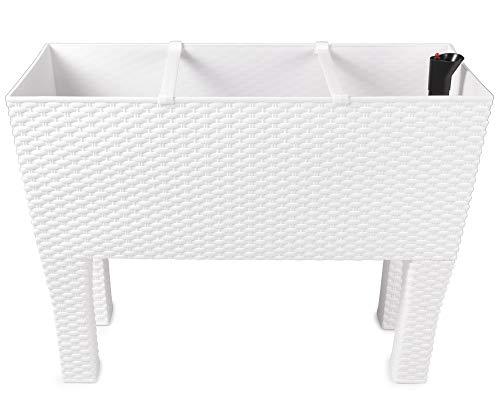 Ondis24 Hochbeet, Pflanzkübel, Rato High, Blumenkübel, 60 x 25 x 48 (H) cm, Kunststoff, Bewässerungssystem (Weiß)