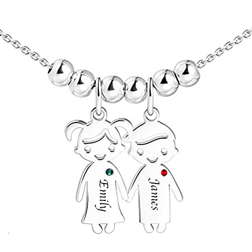 N\C Colgante grabado para niño niña de acero inoxidable personalizado nombre collar para la amistad madre amante regalos