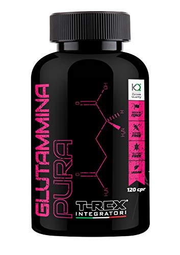 L - Glutammina Pura Kyowa 120 compresse | Aumento GH ormone della crescita | Diminuisce fatica post allenamento | Rafforza il sistema immunitario | T-REX INTEGRATORI 100% materia prima Kyowa Quality