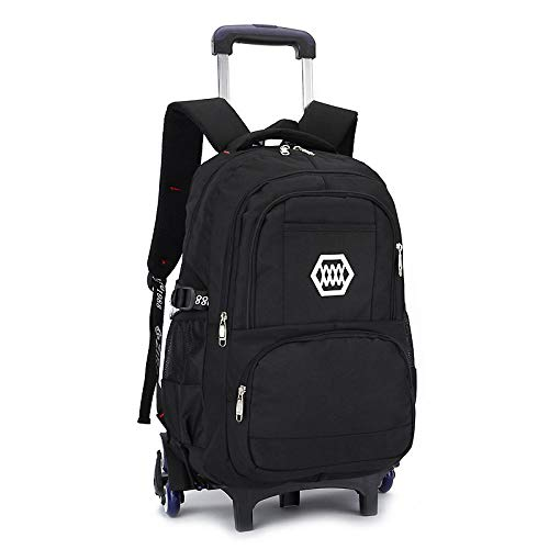 ZZLHHD Children's Wheeled Backpack,Rotary tower bag, drag back shoulder bag-black_Six rounds,Wheels School Bag Boys
