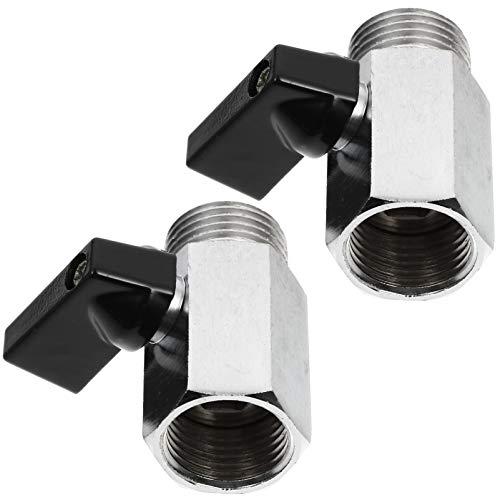 ULTECHNOVO Gewindeabsperrventil 1/2 Zoll Mini- Kugelhahn Edelstahl- Schlauchventil mit Edelstahlgriff Schnellanschluss für Wasser Öl Gas 2St