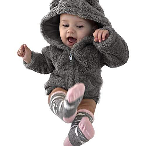Longra Unisex Baby Winterjacke Jungen Mädchen Zip Hoodie Kapuzenjacke Warmer Niedlich Dicke Mantel Jacke Baby Teddyjacke Fleecejacke Fleecemantel Parkas Jacket mit Kapuze (70cm 6Monate, Grau)