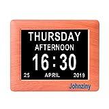 Johnziny 7 inch Digital Calendar Day Clock 8 Alarm Options Extra Large Day