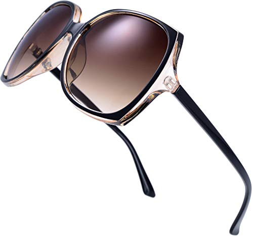 Women's Square Jackie O Cat Eye Hybrid Butterfly Fashion Sunglasses - Exquisite Packaging (727704-Crystal brown/ Black paint, Gradient Brown)